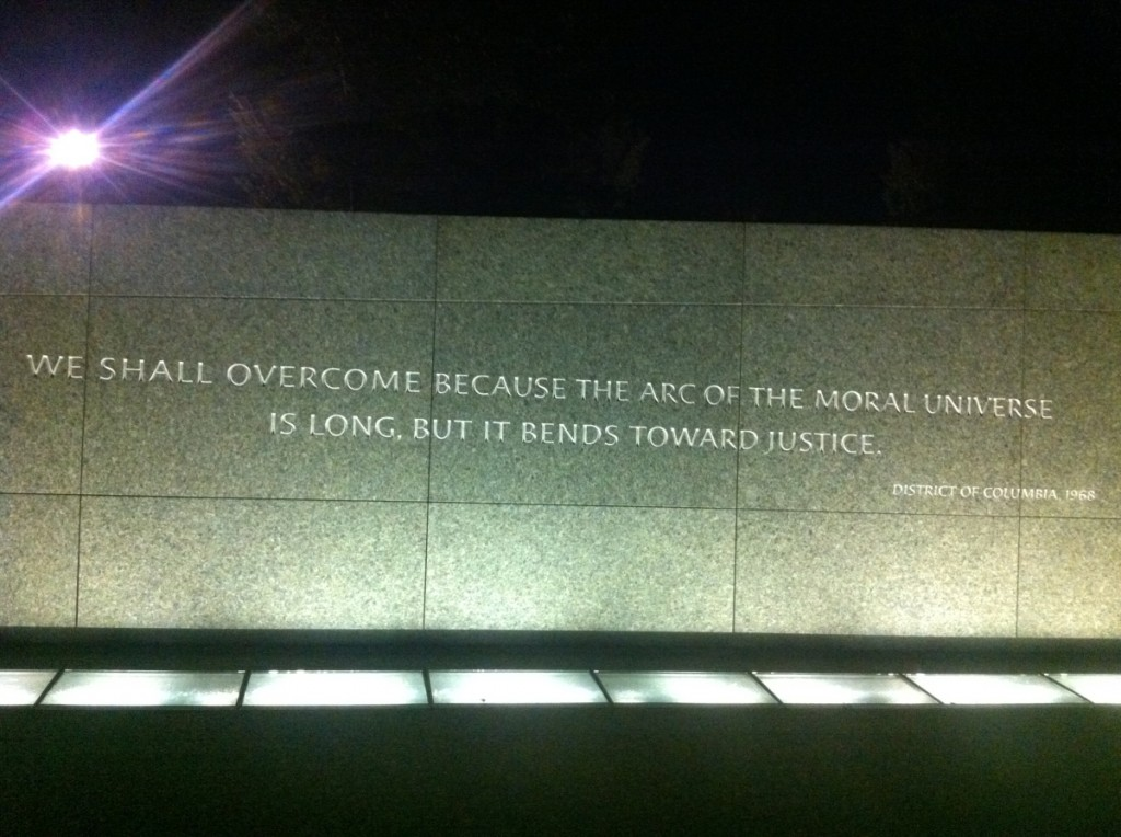 """""""We shall overcome because the arc of the moral universe is long, but it bends towards justice."""" (31 March 1968, National Cathedral, Washington, D.C.)"""