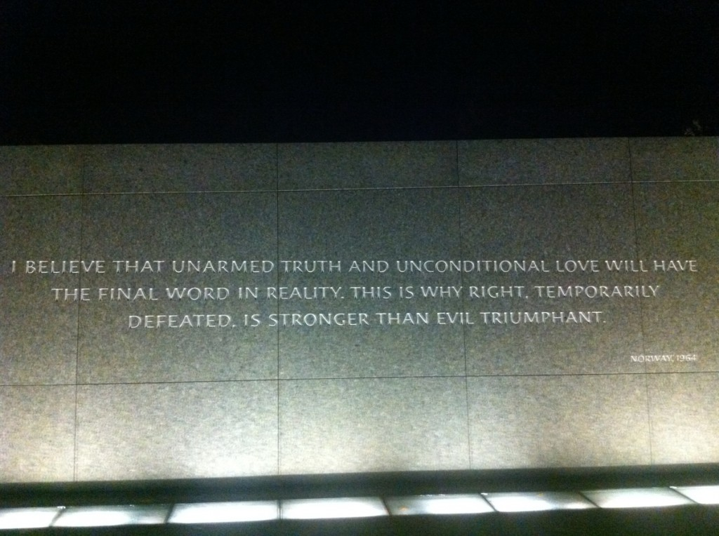 """""""I believe that unarmed truth and unconditional love will have the final word in reality. This is why right, temporarily defeated, is stronger than evil triumphant."""" (10 December 1964, Oslo, Norway)"""